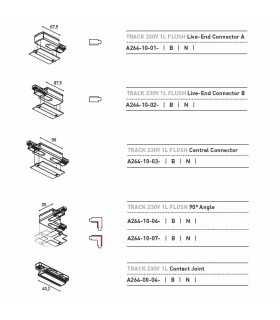 IO Track 230v 1L Recessed Conector